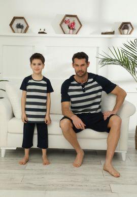 Πιτζαμα Ανδρικη Με Σορτσάκι Grey Stripes