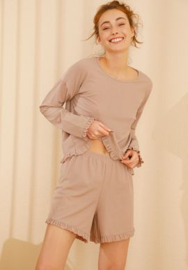 Φορμα Γυναικεια Με Σορτσακι Soft Beige Comfort