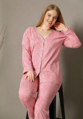 Πιτζαμα Γυναικεια Plus Size Με Κουμπια Pink Spotted