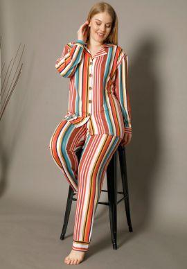 Πιτζαμα Γυναικεια Plus Size Με Κουμπια Colorful