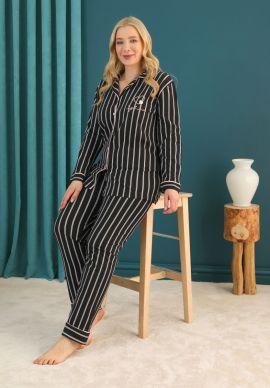 Πιτζαμα Γυναικεια Plus Size Με Κουμπια Πικε Pink Stripes