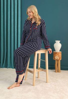 Πιτζαμα Γυναικεια Plus Size Με Κουμπια Πικε Red Stripes