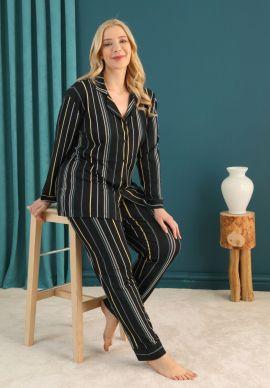 Πιτζαμα Γυναικεια Plus Size Με Κουμπια Blue Elegance
