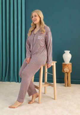 Πιτζαμα Γυναικεια Plus Size Με Κουμπια Pink Stripes