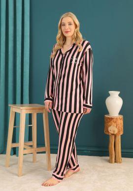 Πιτζαμα Γυναικεια Plus Size Με Κουμπια Pink & Black