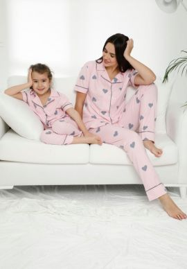 Πιτζαμα Γυναικεια Με Κουμπια Και Μακρυ Παντελονι Pink Love