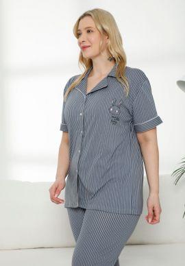 Πιτζαμα Γυναικεια Plus Size Grey Stripes