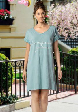 Φορεμα Γυναικειο Κοντομανικο Γαλαζιο
