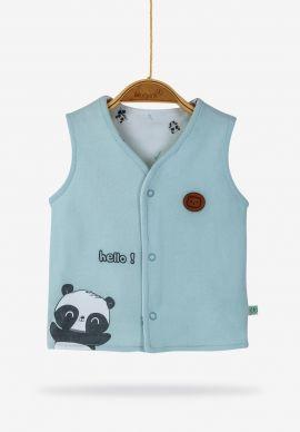 Βρεφικό Γιλεκάκι Panda Blue Biorganic