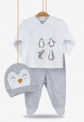 Σετ βρεφική πιτζάμα με σκουφάκι Happy Penguins