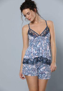 Πιτζαμα Γυναικεια Viscose  Με Σορτσακι Blue Lahour