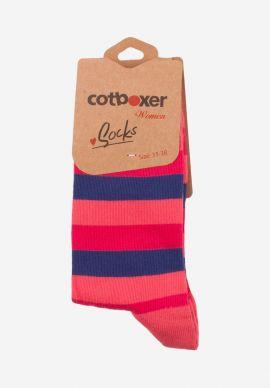 Καλτσες Γυναικειες Cotbox Blue & Pink Stripes