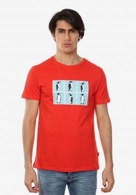 T-Shirt John Frank Penguins Red