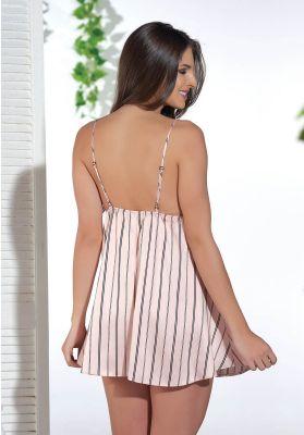 Νυχτικο  Σατεν Sevim Pink Stripes