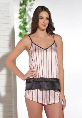 Πιτζαμα Γυναικεια Με Σορτσακι Σατεν Pink Stripes